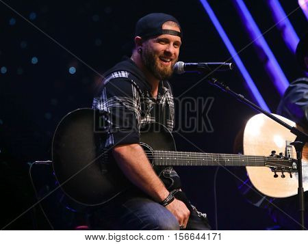 CHICAGO-NOV 9: Brantley Gilbert performs at CBS Radio's Stars & Stripes event at the Chicago Theatre on November 9, 2016 in Chicago, Illinois.