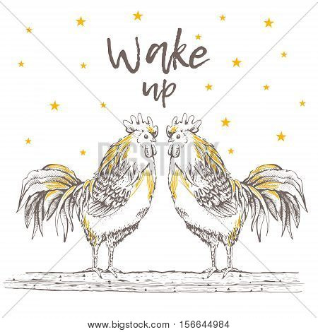Illustration - sketch two rooster. Chicken birds are standing on a tree branch. Dawn sun and star. Wake up. Graphics handmade drawing cocks. Vintage engraving style.
