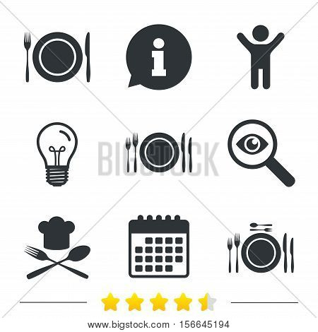 Plate dish with forks and knifes icons. Chief hat sign. Crosswise cutlery symbol. Dining etiquette. Information, light bulb and calendar icons. Investigate magnifier. Vector