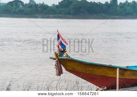 Long wood boat on river in Thailand