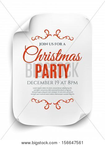 Christmas party invitation poster, flyer or brochure template isolated on white background. Curved, paper banner, scroll. Vector illustration.