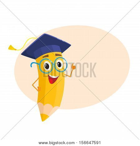Yellow cartoon pencil with in graduation cap giving okay, vector illustration isolated on beige background for the text. Humanized funny pencil in a graduate cap with a tassel smiling and giving OK
