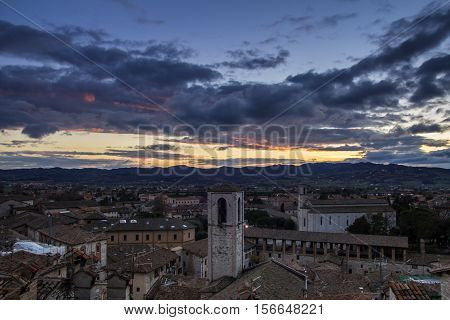 Romantic view of Gubbio at the sunset. Italian medieval village