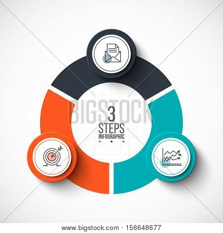 Vector infographic design template. Business concept with 3 options, parts, steps or processes. Can be used for workflow layout, diagram, number options, web design. Linear icons.