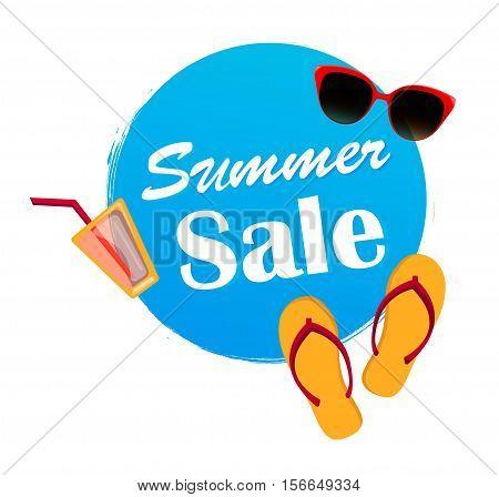Summer sale banner in blue color. Stock vector illustration