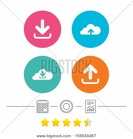 Download now icon. Upload from cloud symbols. Receive data from a remote storage signs. Calendar, cogwheel and report linear icons. Star vote ranking. Vector