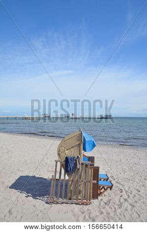 Beach and Pier of Kellenhusen at baltic Sea,Schleswig-Holstein,Germany