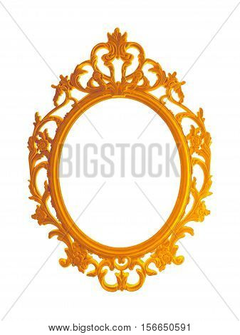 beautiful vintage gilded photo frame or mirror isolated on white background.