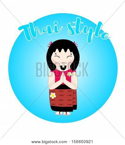 Flat vector woman in traditional thai dress with gesture of greeting, namaste. Text