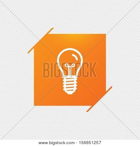 Light bulb icon. Lamp E14 screw socket symbol. Illumination sign. Orange square label on pattern. Vector