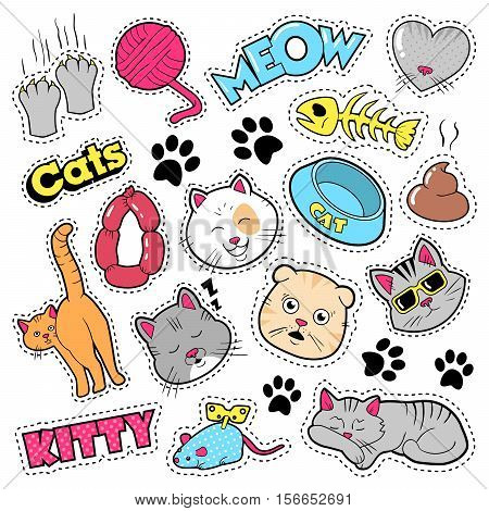 Funny Cats Badges, Patches, Stickers - Cat Fish Clutches in Comic Style. Vector doodle