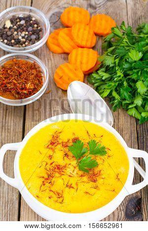 Vegetable Cream Soup with Saffron Diet Food. Studio Photo