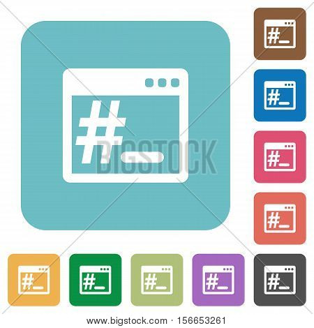 OS root terminal white flat icons on color rounded square backgrounds