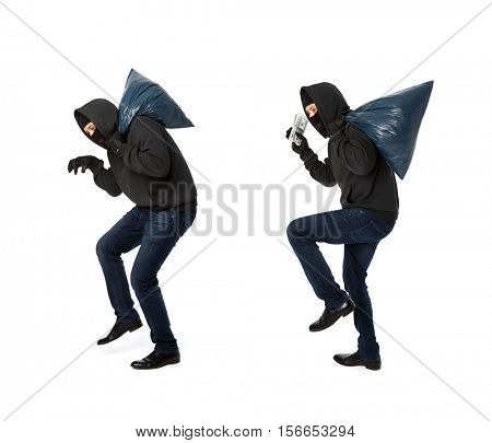 Two thieves steal with bags