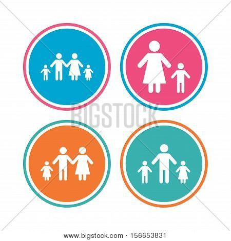 Family with two children icon. Parents and kids symbols. One-parent family signs. Mother and father divorce. Colored circle buttons. Vector