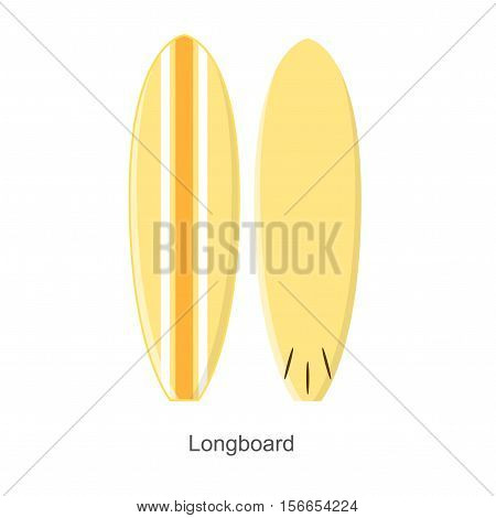 Surf Board Longboard Shape Equipment for Surfing. Vector illustration