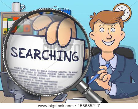 Business Man Showing a Text on Paper Searching. Closeup View through Magnifier. Multicolor Modern Line Illustration in Doodle Style.