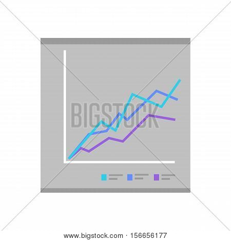 Colour diagram on gray background. Diagram icon in flat. Concept of online business, commerce statistics, business analysis, information. Isolated object on gray background. Vector illustration.