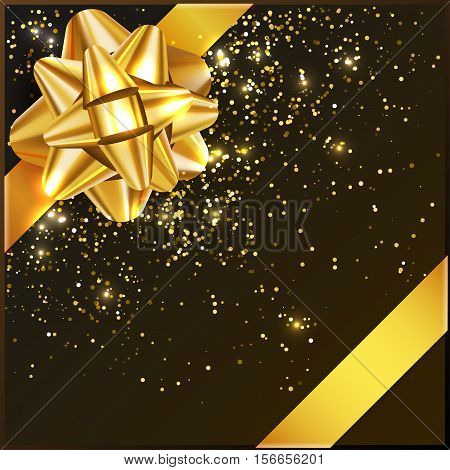Bow on gift box with confetti and tape, vector illustration