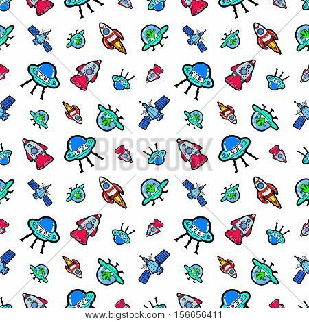Space Ships Rocket and Satellite Seamless Pattern. Vector background with Aliens and UFO Ships