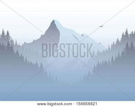 Vector mountain landscape illustration with high mountains peak in morning haze, fog, mist. Forest valley foreground. Eps10 vector illustration.