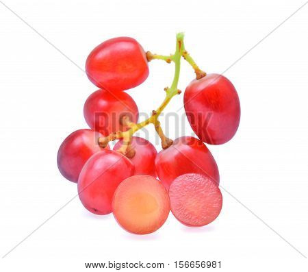 bunch red seedless crimson grape isolated on white background