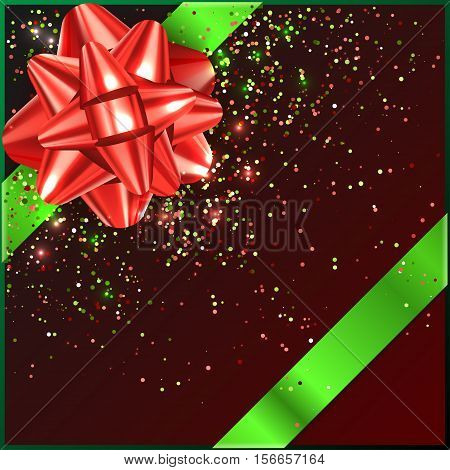 Bow on gift box with confetty tape, vector illustration