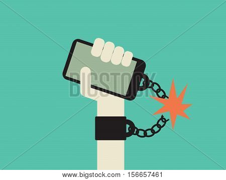 Break free from smartphone and technology addiction vector concept. Hand with smartphone chained to it. Eps10 vector illustration.
