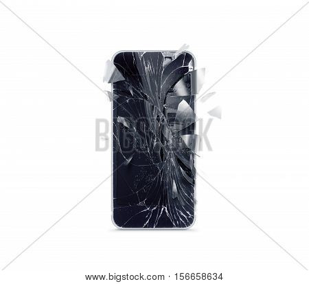 Broken mobile phone screen scattered shards 3d rendering. Smartphone monitor damage mock up. Cellphone crash and scratch. Telephone display glass hit. Device destroy problem. Smash gadget repair.