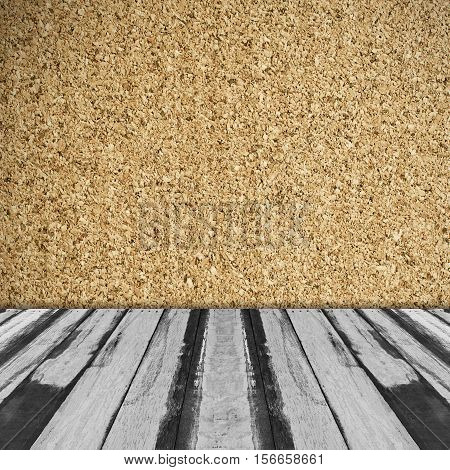 Abstract empty wooden interior room background with corkboard wall