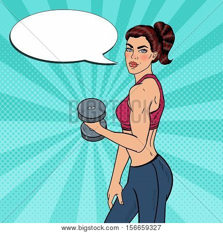 Pop Art Athletic Strong Woman Exercising with Dumbbells. Vector illustration