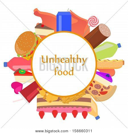 Vector illustration sign icon of unhealthy food. Badge, emblem set junk nutrition. Harmful fast food for health. Flat style. Picture, image isolated on white background.