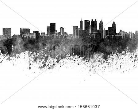 Atlanta Skyline In Black Watercolor On White Background