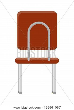 Chair in retro style icon. Back view. Piece of furniture. Brown leather seat with chrome legs. Part of the series of inner business office interior design. Seating equipment. Vector illustration