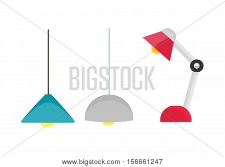Ceiling light and table lamp vector. Flat design. Simple classic chandeliers and lamp for office, cafe, shop and apartment. Illustration for illumination shop catalog. Isolated on white background.