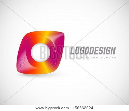 Vector illustration with the image of the color logo, emblem, sticker. For your design with your text and title for any field of activity. Universal vector icon.