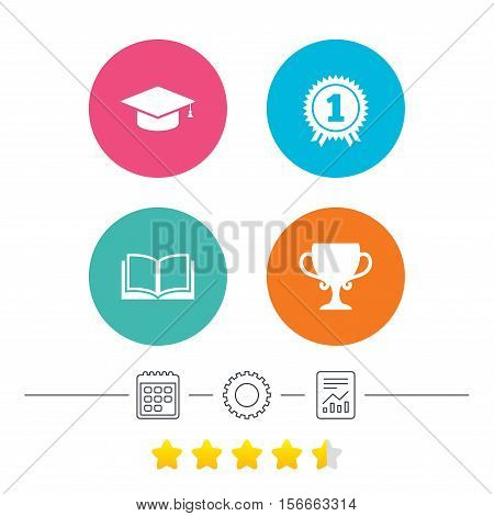 Graduation icons. Graduation student cap sign. Education book symbol. First place award. Winners cup. Calendar, cogwheel and report linear icons. Star vote ranking. Vector