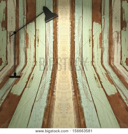 Abstract empty wooden interior room background with floor lamp