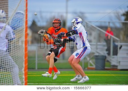 Boys Lacrosse Sprague shot on goal