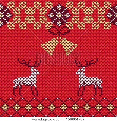 Vector Illustration of Knitted Sweater Seamless Pattern for Design, Website, Background, Banner.Christmas Ornament for Wallpaper or Textile. Norwegian Texture Template