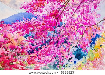Painting landscape watercolor original colorful wild himalayan cherry blossoms on the beautiful mountain range