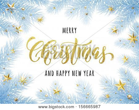 Merry Christmas, Happy New Year greeting card, poster template of pine and fir christmas tree branches frost, golden stars, bauble balls, ornament decorations. Calligraphy lettering text