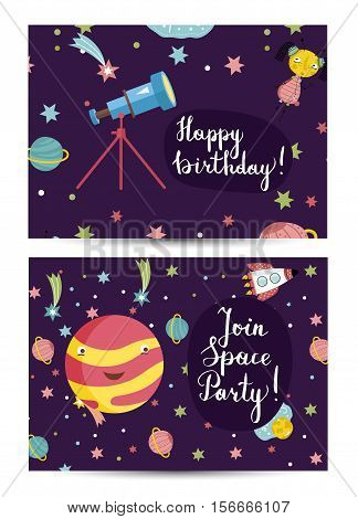 Happy birthday cartoon greeting card on space theme. Telescope, alien girl, Venus planet, rocket, stars, comets vector illustrations on blue background. Bright invitation on childrens costumed party