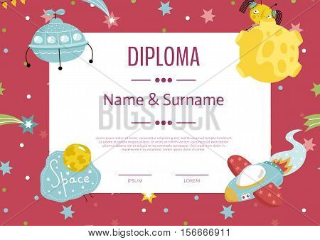 Diploma cartoon template. Spaceship, stars. planets, comets. For award for victory in scientific competition. Cartoon space diploma template. Diploma kids layout.