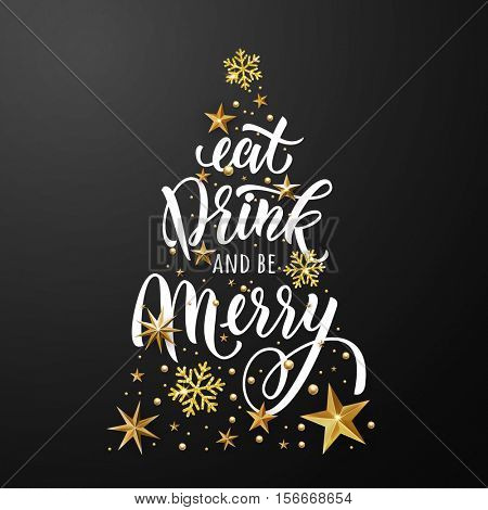 Christmas tree poster of gold glitter stars, snowflakes ornament. Eat, drink and be merry greeting card. Vector stars with golden glittering foil gilding. Christmas decoration