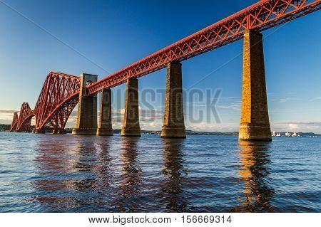 Old Steel Bridge In Scotland At Sunset