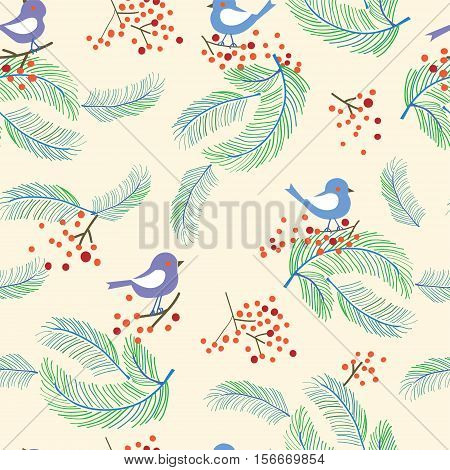Christmas seamless pattern with birds and trees - vector graphic illustration