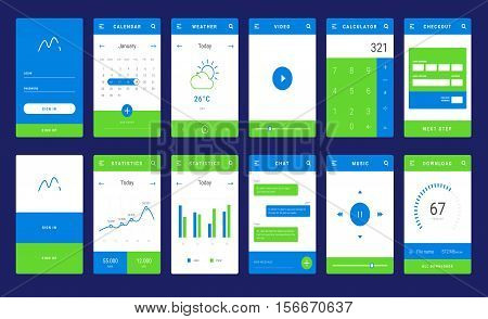 UI, UX and GUI template layout for Mobile Apps. Statistic dashboard, calculator and weather widget, bank card payment for e-commerce. Daily calendar. Blue and orange color ux app. User interface