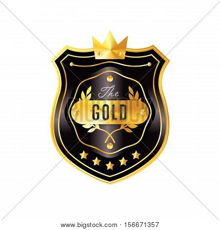 Gold metal badge vintage style isolated vector illustration. Icon of gold badge. Special offer badge. Award or medal of golden badge. Golden badge vector. Tag collection.