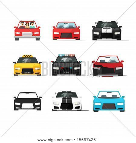 Cars icons set vector illustration isolated on white background, black auto collection front view, flat style vehicles, sport, taxi, police automobile, tuned and broken car